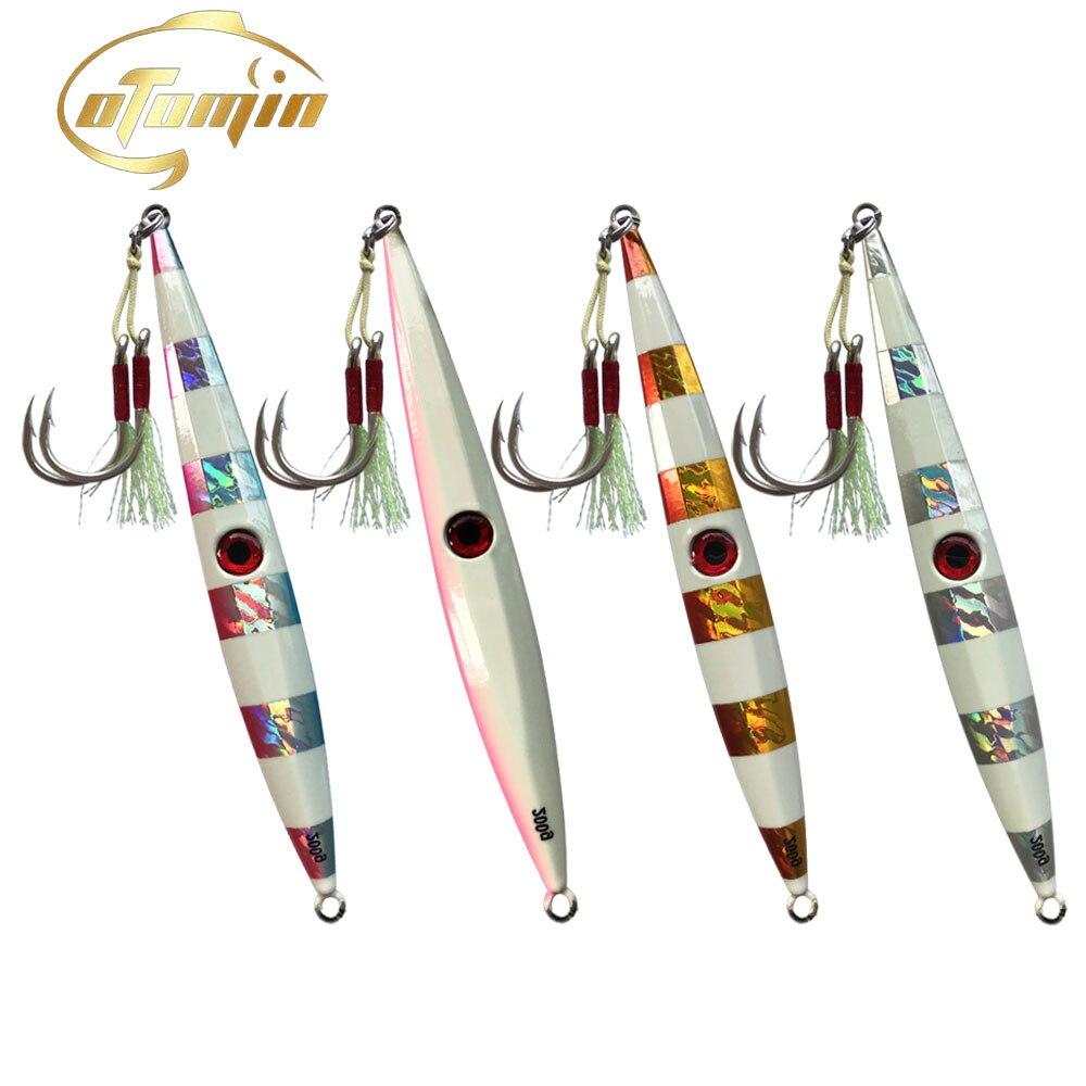 otomin Fast Jigging Lure Sinking Glow Luminuous One Set 200g250g300g Speed Falling Jig Saltwater Artificial Metal Fishing Lure