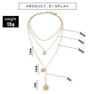 Image 3 - Модное многослойное ожерелье с имитацией жемчуга, креативное круглое ожерелье с длинными денежными средствами, подарок на вечеринку