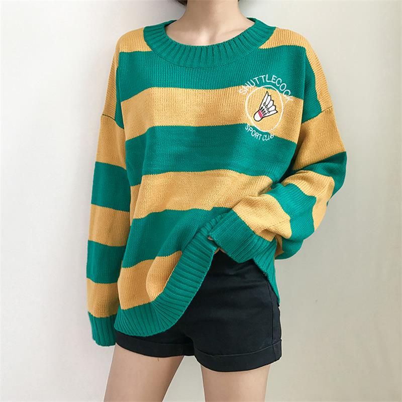Women'S Sweaters Korean Harajuku Ulzzang Striped Cartoon Racket Loose Sweater Pullover Female Punk Clothing For Women