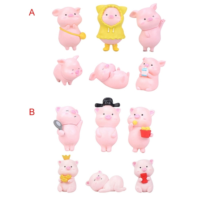6Pcs/Set Pig Family figurine Animal Model Moss Micro Landscape Home Decor Miniature Fairy garden Decoration Baby Room Decoration 6