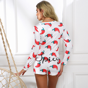 Novel Style Chili Printed Short Jumpsuits Long Sleeve Casual V-neck Bodycon Romper Slim Stretch Sexy Autumn Christmas Playsuits 5