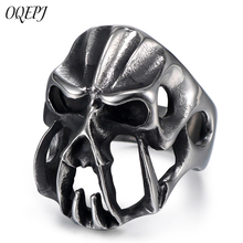 OQEPJ Hiphop Rock Alternative Personality Monster Skull Rings 316L Stainless Steel Silver Color Jewelry For Men Novel Gift