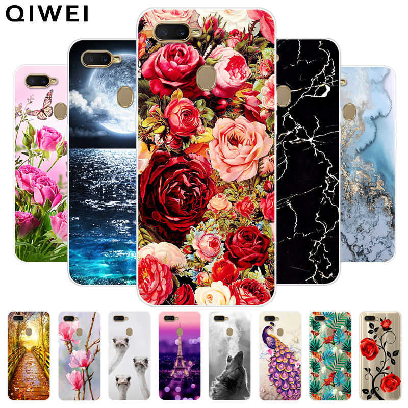 For OPPO A5S / AX5S Case Cover 6.2'' Clear Flower Printed Soft TPU Phone Cases For OPPO AX5S A 5S Cute Silicone Back Cover AX 5S