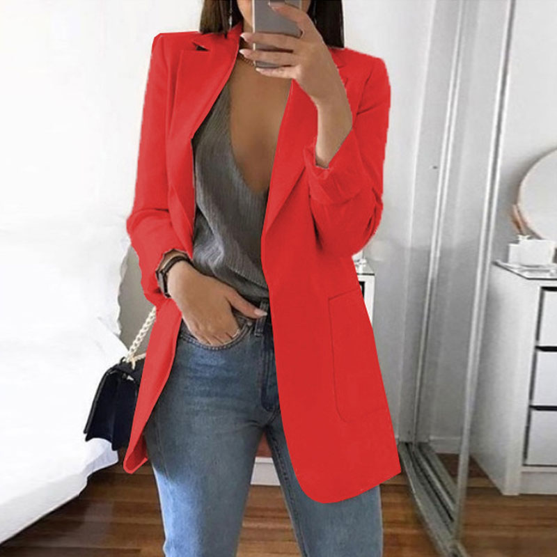 S-5XL Notched Coat Women Autumn Winter Long Sleeve Office Coat Cardigans Suit Ladies Fashion Solid Pockets Slim Long Blazers