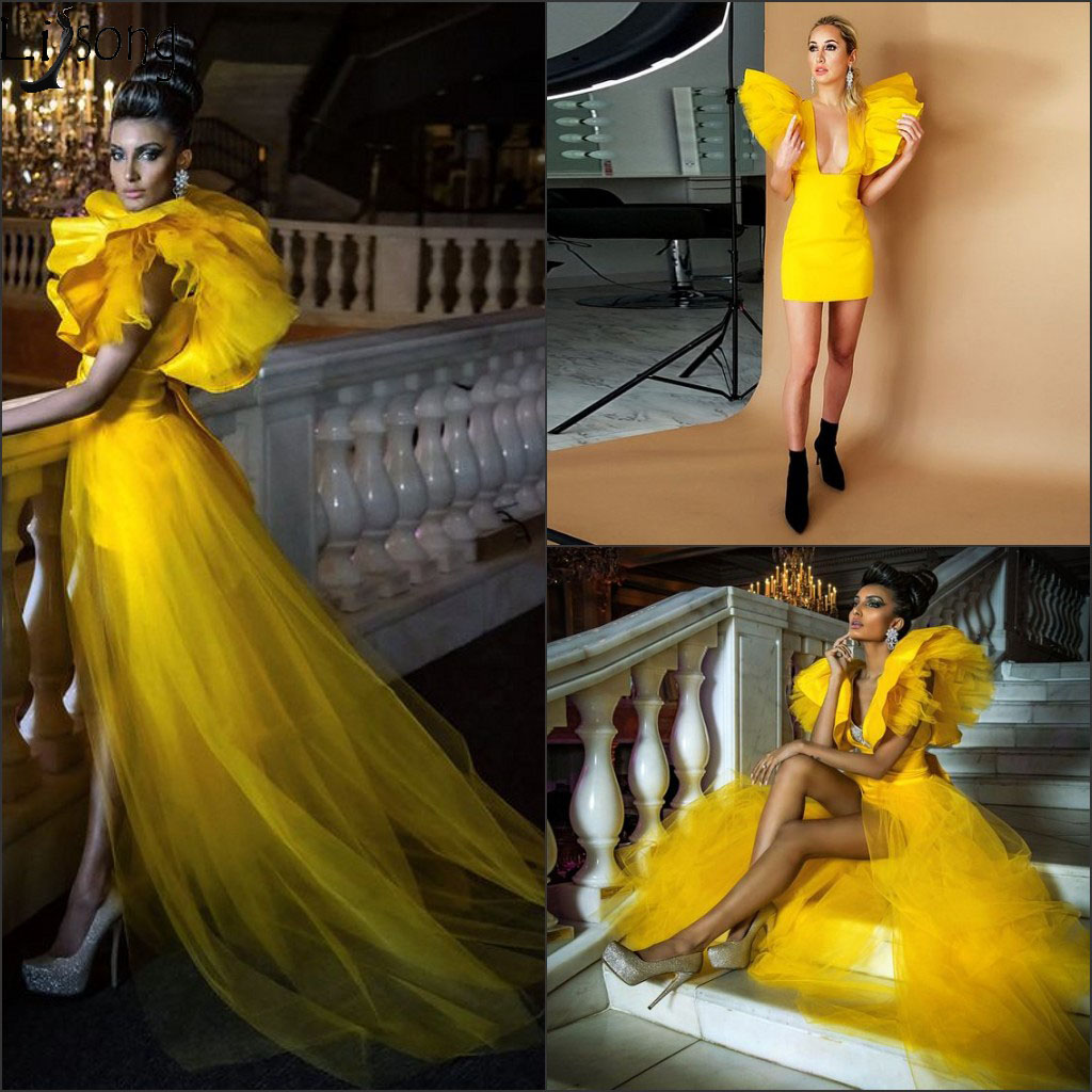 Fashion Short Prom Dresses With Detachable Train Yellow Deep V Neck Mini Cocktail Dresses 2 Pieces Overskirts Girls Party Gowns