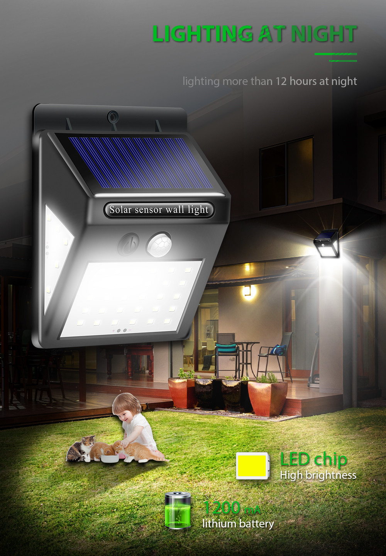 1-4pcs 40 LED Luz Solar Light Motion Sensor Waterproof Garden Solar Light Outdoor Path Security Light 3 Sided Luminous Lighting