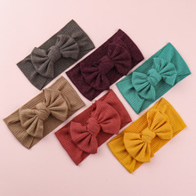 Solid Color Knitted Striped Fabric Baby Girls Headband Knot Bow Headband Children Hair Accessories Elastic Turban Wide Hairband