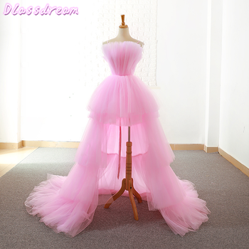 Pink Homecoming Dresses 2020 New Tiered Layers Sweep Train Short Front Long Back Prince коктейльные платья Graduación Prom Dress