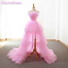 Rosa Homecoming Kleider 2020 Kurze Vordere Lange Zurück Prom Kleid Graduation Abendkleider Tiered Schichten Frauen Formale Party Kleid