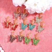 Женские серьги подвески flatfoosie бабочки с цирконием Разноцветные