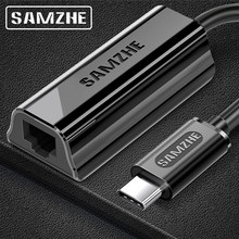 SAMZHE USB-C a Ethernet USB-C a RJ45 Lan adaptador para MacBook Pro Samsung Galaxy S9/S8/nota 9 tipo C tarjeta de red Ethernet USB(China)