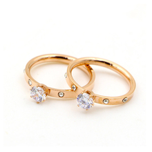 Luxury Love Jewelry Titanuim Steel Rose Gold Color Ring CZ Austrian Crystal Ring For Women Couple Finger Rings Wedding Size5-9 zys107 rose gold color created green austrian crystal jewelry set with 3 pcs ring necklace eearrings