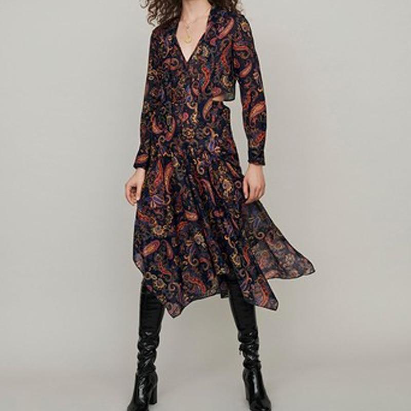 2019 nouveau automne/hiver Vintage Paisley imprimer à manches longues femmes irrégulière robe mi-longue