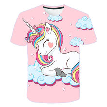 girls 3D unicorn Print T-shirts cute unicorno tshirt Girls NEW Summer Tees Top Clothing Children cartoon Clothes Casual xxx teen