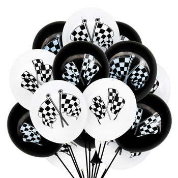 12pcs/lot 12inch Black White Racing Flag Latex Balloons Checkered Racing Flags Ballons Race Car Theme Party Decoration Globos image