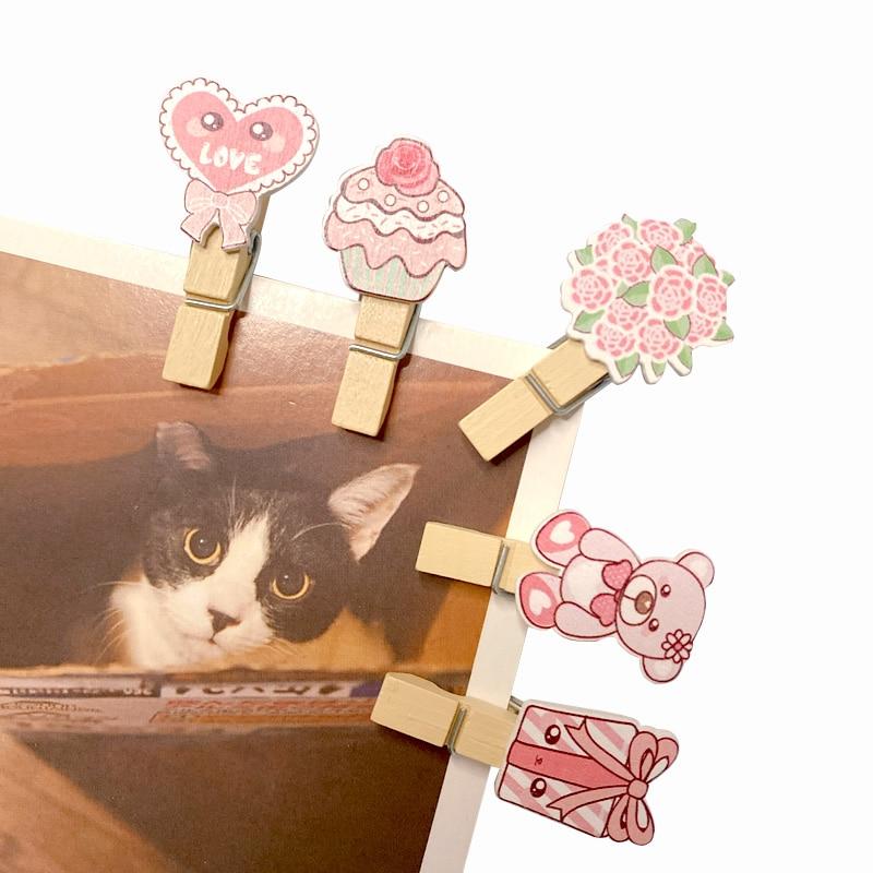10pcs/lot Cute Romantic Pink Bear Wood Clip With Hemp Rope Photo Snack Clip Memo Peg Pin DIY Decoration Clips