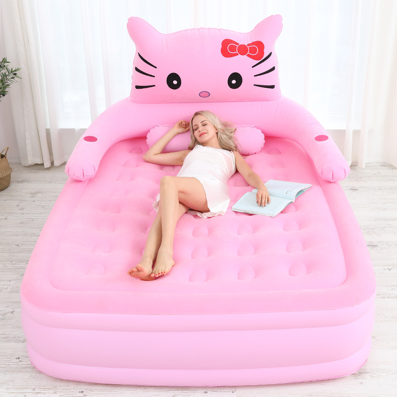 2019 Inflatable Bed For Kids Girls Home Double Air Bed Air Mattress Thickened Portable Sleeping Bag Outdoor Lazy Sofa Mat