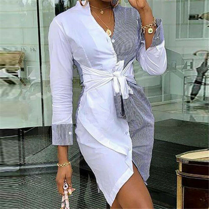 Hirigin Women Stripe Long Sleeve V-neck High Waist Slim Short Mini Casual Dress Office Lady