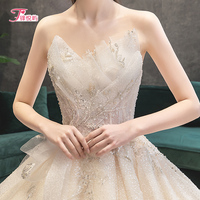 Wedding dress 2019 bridal gown luxury tail net red tremble Princess starry sky heavy industry Herald method