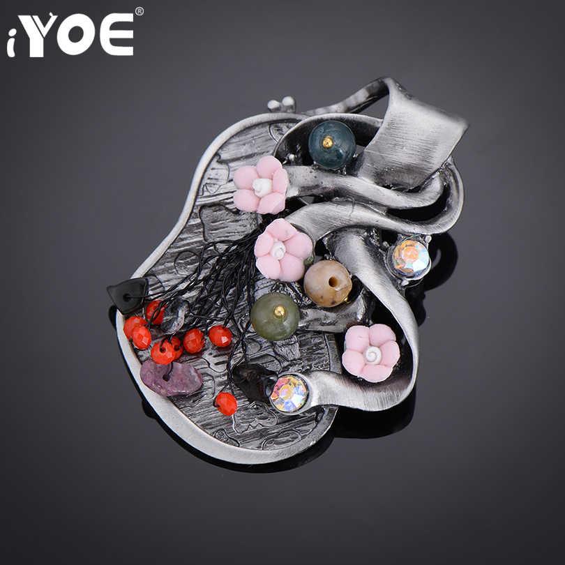 Iyoe Desain Yang Bergaya Vintage Resin Bunga Liar Bros untuk Wanita Retro Berlian Imitasi Perak Antik Bros Pin Wanita Perhiasan