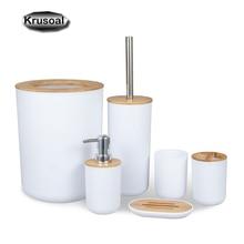 6Pcs Bamboo Bathroom Accessories Sets Toothbrush Holder Soap Dispenser Toilet Brush Bathroom Set Bathroom Decoration Accessories