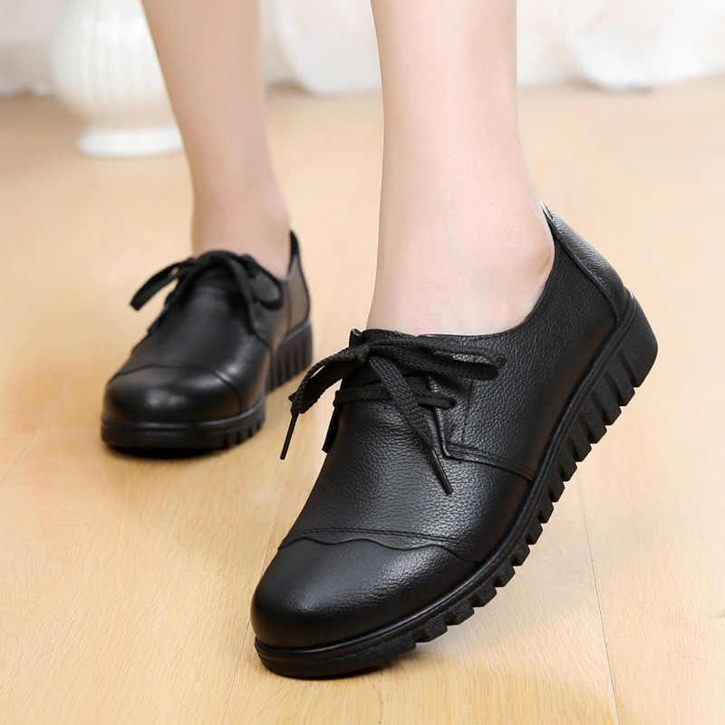 Herfst Winter Vrouwen Schoenen Zwart Lederen Vrouwelijke Flats Loafers Hoge Kwaliteit Ronde neus Moeder Schoenen Zachte Comfortabele