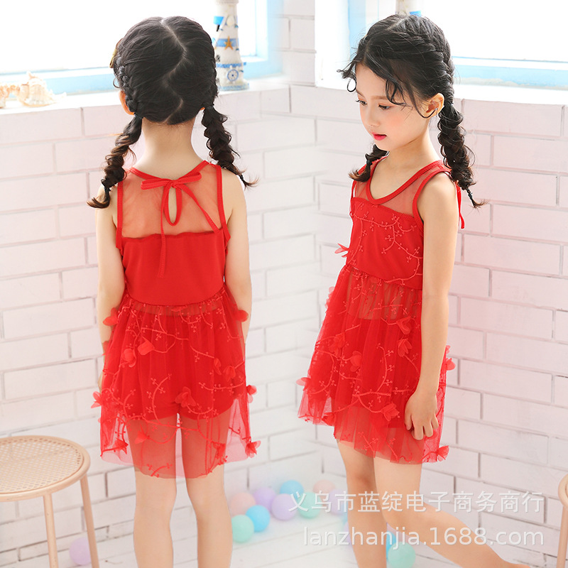 New Style GIRL'S Swimsuit Little Girl Cute Fresh One-piece Floral Skirt-Tour Bathing Suit Xue Sheng Kuan Playful Western Style S