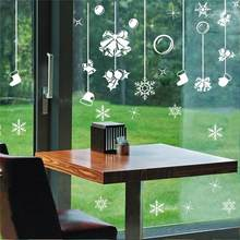 Christmas Bells Balls Hat Snowfake Pendant Wall Stickers For Store Home Decor Diy Window Decal White Festival Vinyl Mural Art(China)