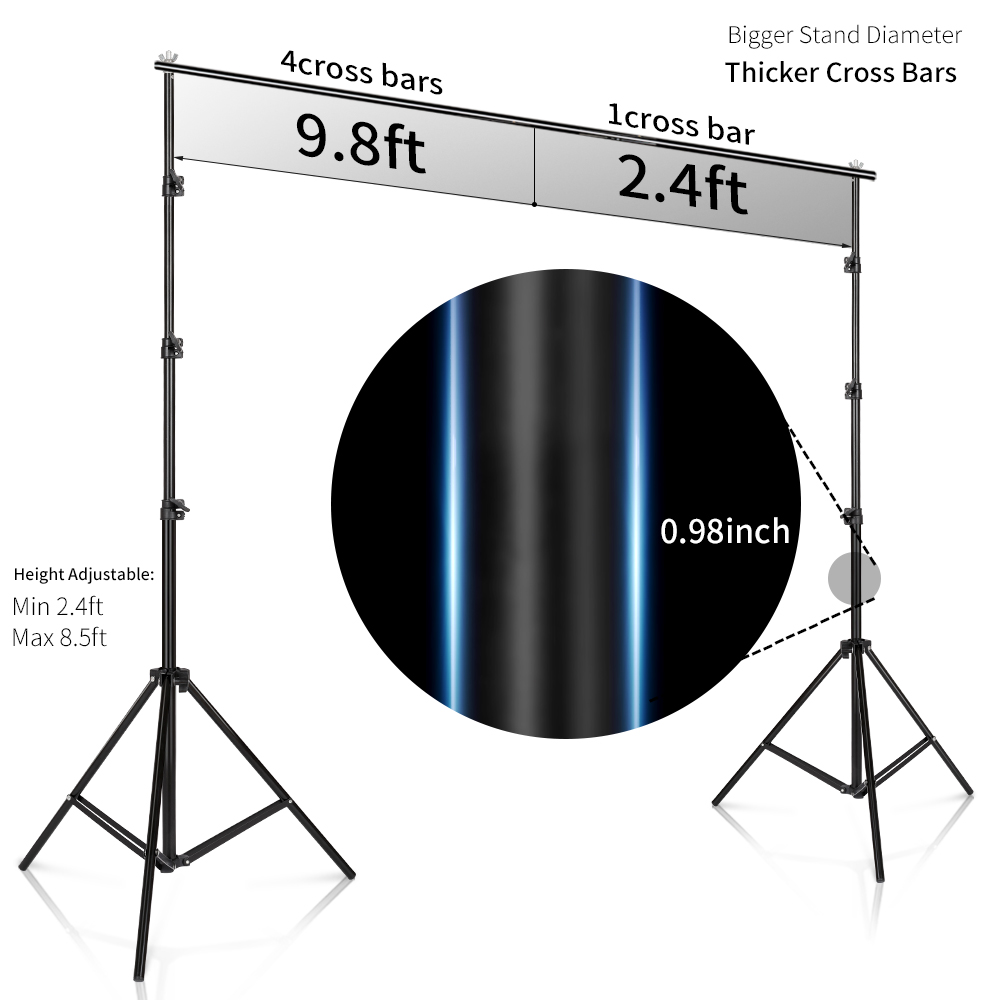 2.6M X 3M/8.5*10ft Pro Photography Photo Backdrops Background Support System Stands For Photo Video Studio + Carry Bag