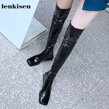 Lenkisen simple style fashion square toe stretch boots high heels black colors daily wear winter women over the knee boots L87