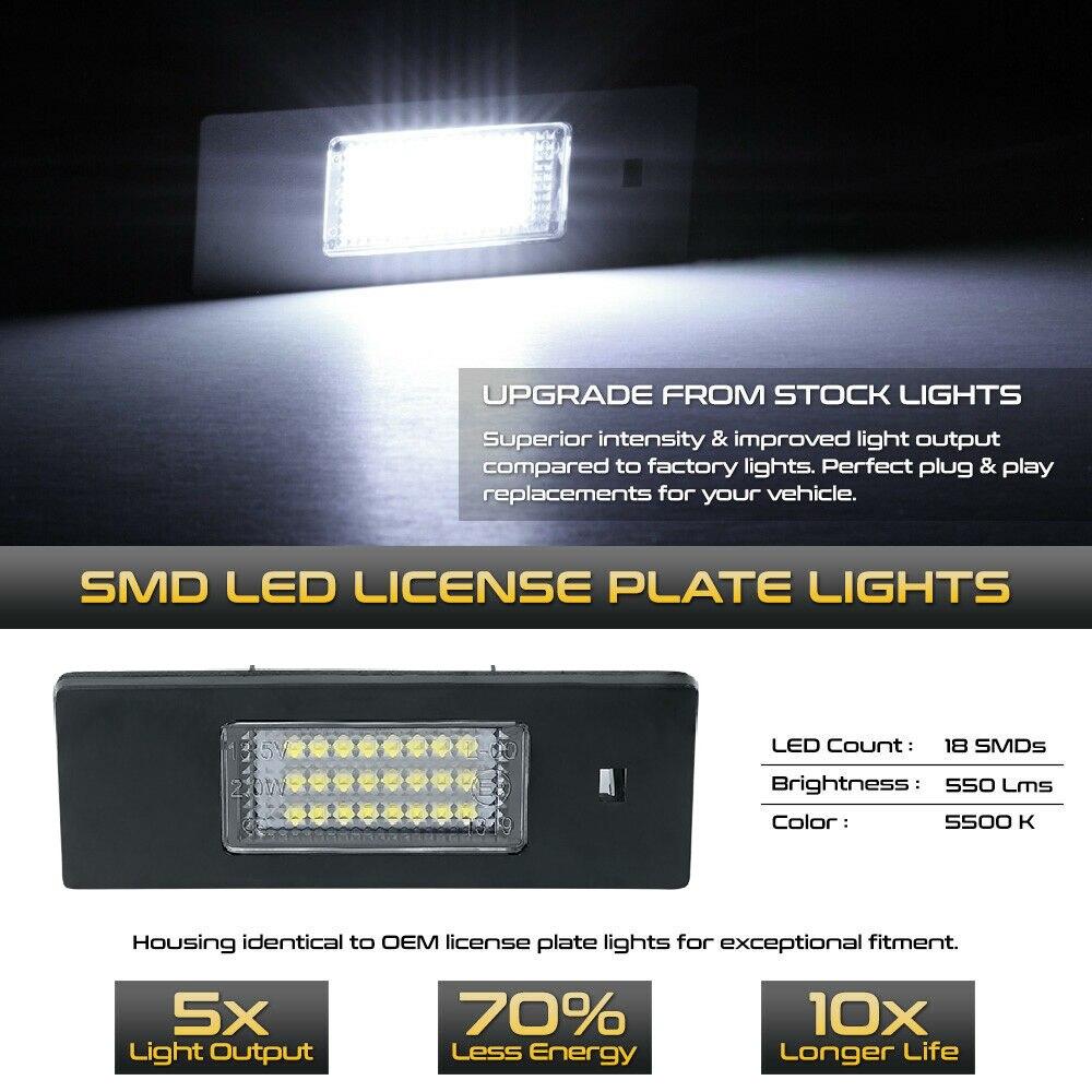 FIAT MAREA 96 MULTIPLA 98 REAR NUMBER LICENSE PLATE LIGHT LAMP 2x LED
