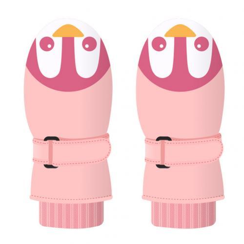 1 пара, милые детские зимние водонепроницаемые ветрозащитные толстые теплые лыжные варежки для сноубординга, перчатки для катания на лыжах - Цвет: Pink Baby