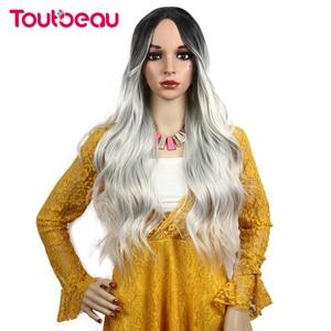 Image 3 - Toutbeau peluca ondulada de color gris para mujer, cabello largo ondulado con gorro de peluca gratis, fibra de pelo falso resistente al calor, 26 pulgadas, 260g