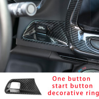 For Camaro Bumblebee 2017 2020 Car interior decorative cover One button start button carbon fiber molding trim
