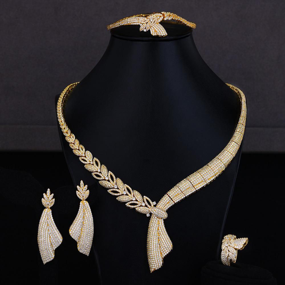 GODKI Charms 4Pcs African Jewelry Sets Luxury Nigerian Dubai Jewelry Set For Women Cubic Zircon Wedding Bridal Jewelry Sets 2019