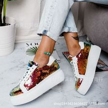 лучшая цена 2019 new women's shoes color sequins muffin thick-soled casual shoes Europe and the United States large size laced Daddy Shoes