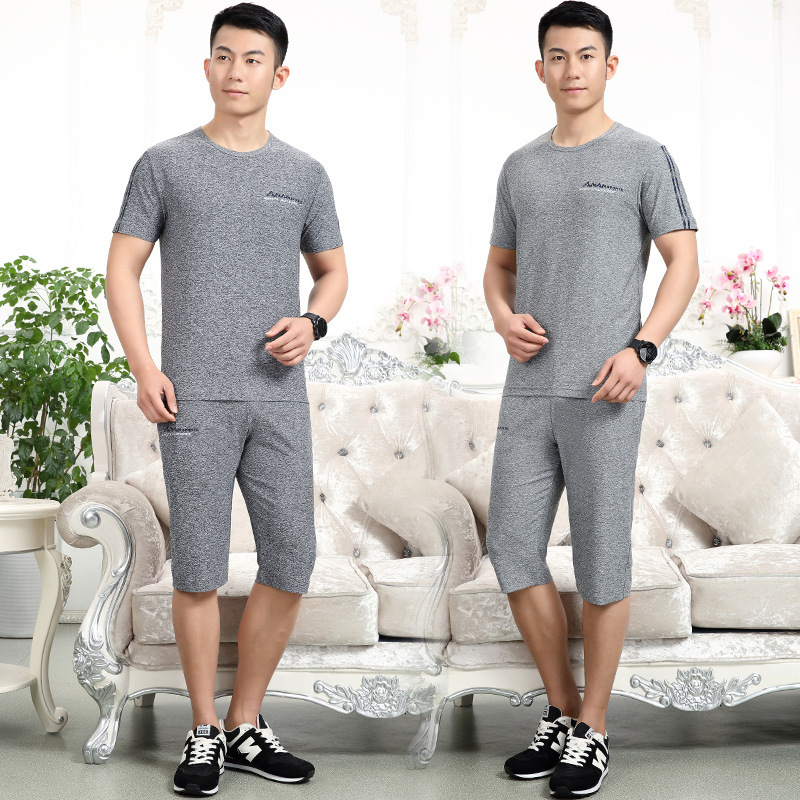 Summer Middle Aged And Elderly People Short Sleeve Sports Set MEN'S T-shirt Men Summer Wear 40-50-Year-Old 60 Grandpa Clothing