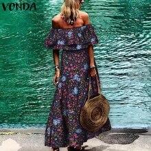 Bohemian Women Floral Printed Maxi Long Dress Beach Summer Sundress 2020 VONDA V