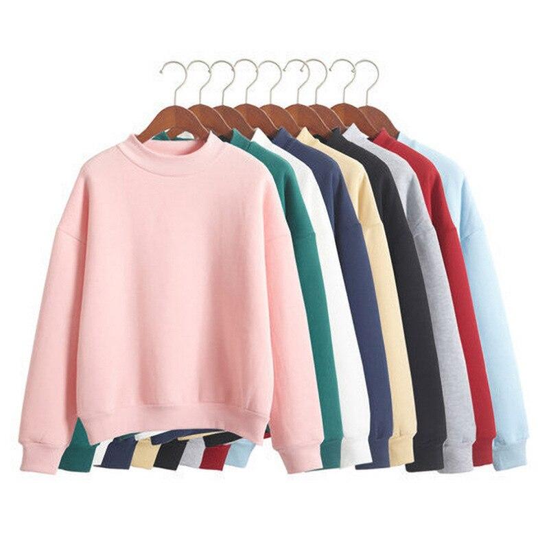 Frau Sweatshirts 2020 Süße Koreanische Oansatz Gestrickte Pullover Dicke Herbst Winter Candy Farbe Lose Hoodies Solide Frauen Kleidung