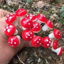 10-100 Pçs/set Mini Cogumelo Miniaturas Fairy Garden Musgo Artificial Resina Artesanato Decoração Estacas de Artesanato Para Casa 2cm