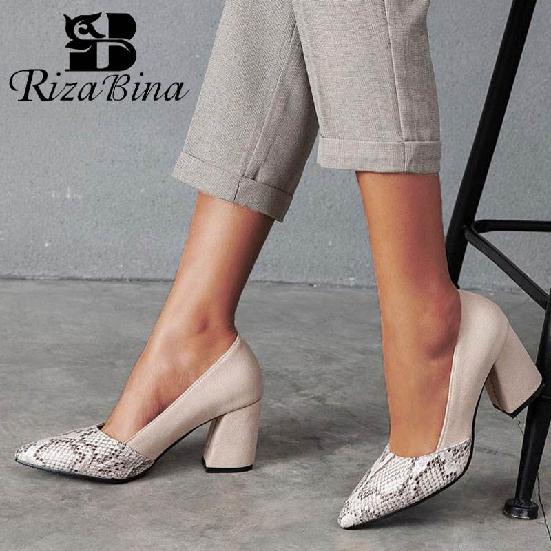 RIZABINA Plus Size 32-46 Women Pumps Fashion Snake Print Sexy Pointed Toe High Heels Shoes Office Ladies Dance Party Footwear