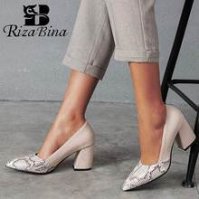 RIZABINA Plus Size 32-46 Women Pumps Fashion Snake Print Sexy Pointed Toe High Heels