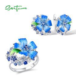 SANTUZZA набор украшений для женщин из серебра 925 пробы с голубым цветком, модные вечерние ювелирные украшения ручной работы с эмалью