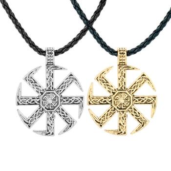 Nórdico vikingo amuleto collar pagano impresionante Kolovrat COLLAR COLGANTE con brújula cadena para los hombres