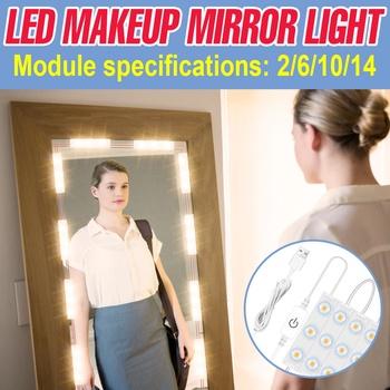 LED do makijażu światło lustrzane USB Touch Dimming toaletka 2 6 10 14 zestaw modułów lustro kosmetyczne światło lustrzane LED Hollywood Wall Lampy tanie i dobre opinie BiaRiTi CN (pochodzenie) Przełącznik C touch dimming mirror light 2pcs 6pcs 10pcs 14pcs 8W 12W 16W 20W USB Plug