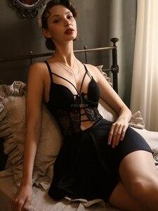 Image 2 - Seksi Pijama kadın Yaz Ince Kesit Günaha Buz Ipek Ev Hizmeti Backless Askı Gecelik Iç Çamaşırı Nightgowns Kadınlar