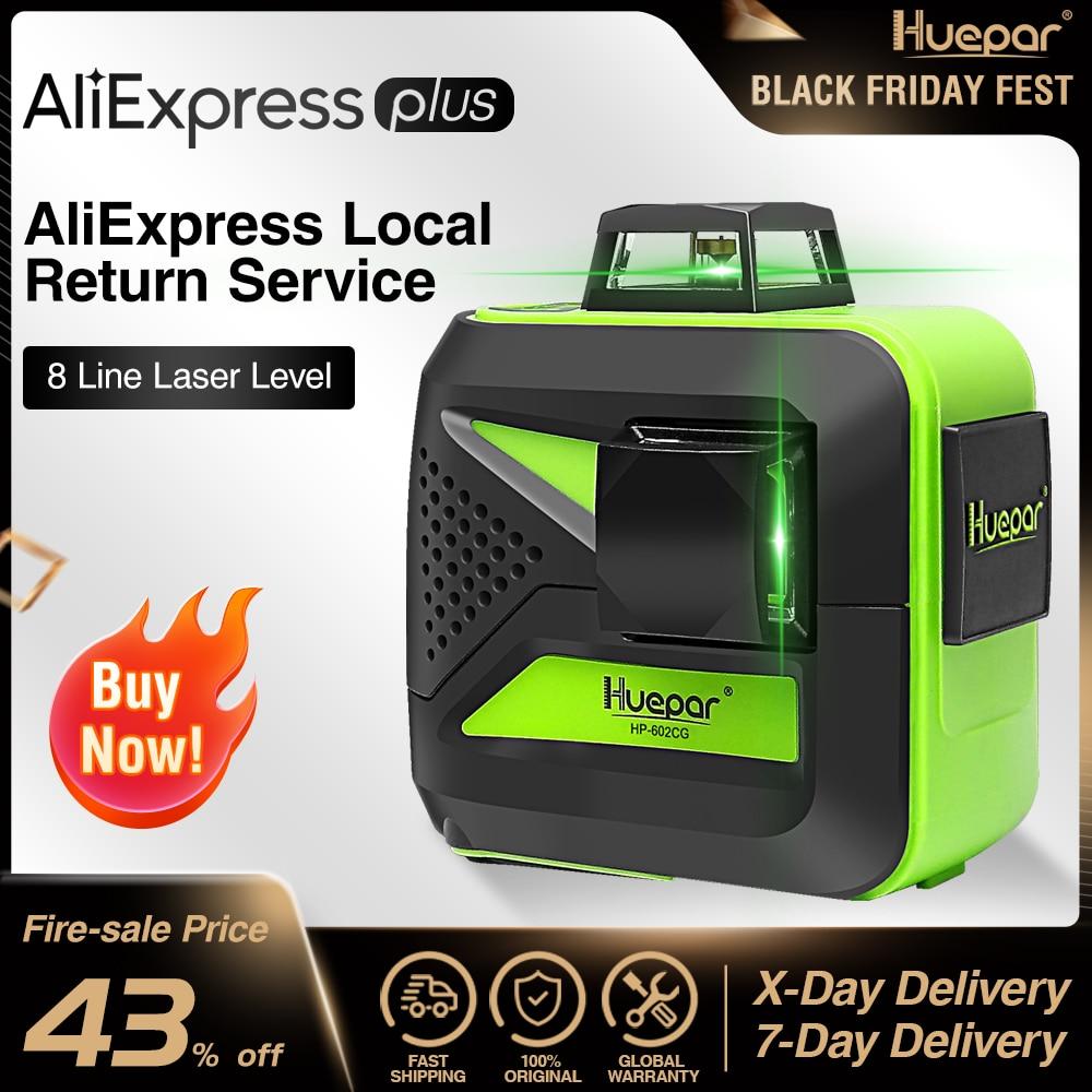 Huepar 8 Lines Green Beam 3D Cross Line Laser Level Self-Leveling 360 Vertical  amp  Horizontal USB Charge Use Dry  amp  Li-ion Battery