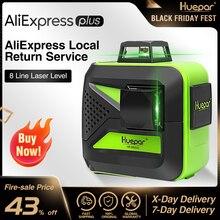 Huepar 8 linhas feixe verde 3d cruz linha laser nível auto nivelamento 360 vertical & horizontal usb carga uso seco & li ion bateria