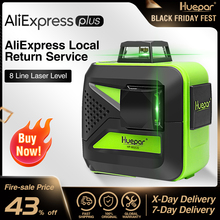 Huepar 8 linii Green Beam 3D Laser krzyżowy poziom samopoziomujący 360 pionowe i poziome ładowanie USB użyj akumulatora suchego i litowo jonowego