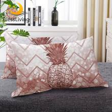 BeddingOutlet Pineapple Down Alternative Bed Pillow Geometric Wave Luxury Glitter Bedding Tropical Fruit 3D Sleeping Pillows(China)